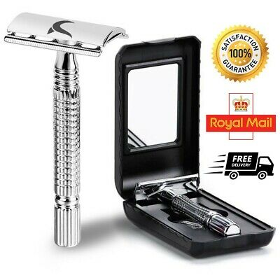 Stainless Steel Safety Razor Double Edge De  + Free Derby Blades & Pouch