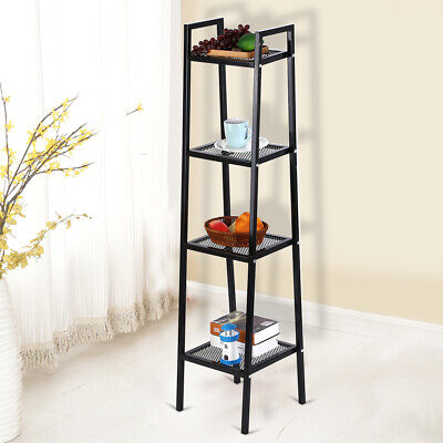 4-Tier Ladder Bookcase Storage Shelf Unit display shelf Living Room Industrial