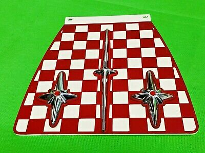 Metalplast Mudflap Red And White With Chromed Desmo Six Point Super Stars