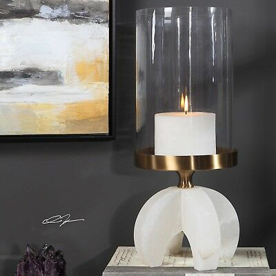"Timeless Xxl 20"" Pillar Candle Holder Polished Alabaster Stone Base Glass Globe"