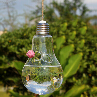 252A Clear Light Bulb Shape Glass Hanging Vase Bottle Plant DIY Table Decor