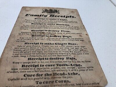 C1790 Useful Family Receipts. Great Item.