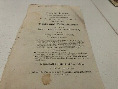 1780 Leaflet On The London Riots And Disturbances