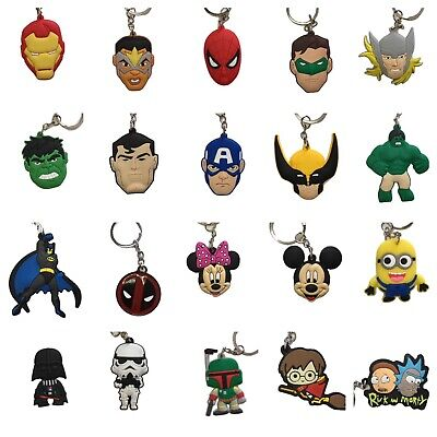 Character keychain children schoolbag lunchbox kids adult keyring superhero pvc