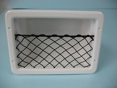 SSI Cargo Net recessed storage Box gloss WHITE with black net Marine RV others