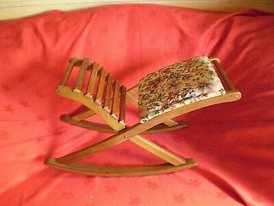vintage wooden rocking footstool with needle point foot rest