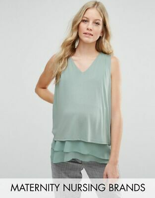 399cfcfcfbbfa NWT ASOS Maternity Deep Plunge Lace Insert Cami Tank Pea in the Pod 6.