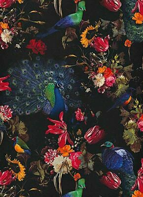 Erismann Peacocks Flowers Floral Wallpaper Black Red Blue Paste The Wall Vinyl