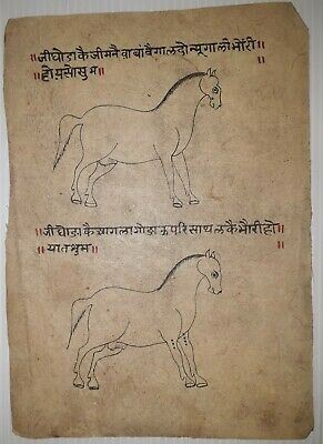 India Old Look Sanskrit/hindi Lithographic Two Illustrations Of Horses.