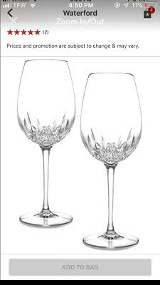 Waterford Crystal Lismore Essence Glass Red Wine Goblet, Set of 2