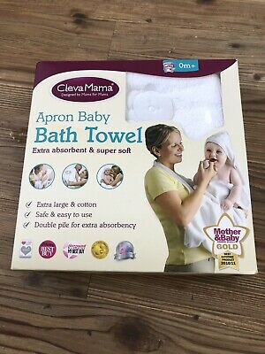 Clevamama Apron Baby Bath Towel in White Newborn - Toddler *Brand New In Box*