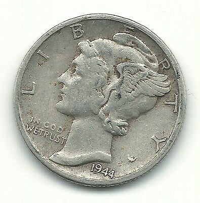 A Vintage Higher Grade 1944 D Mercury Silver Dime-Old Us Coin-Mar731