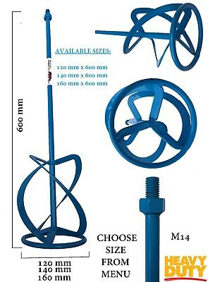 Mixing Paddle 120/140/160mm x 600mm M14 Mixer Stirrer Whisk Plaster Mortar Paint