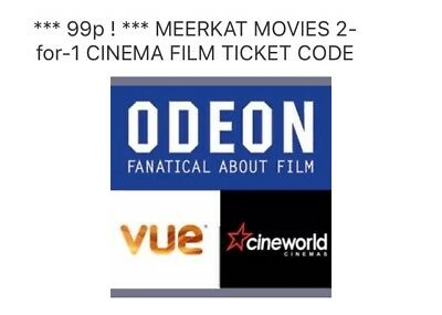 *** 99p ! *** MEERKAT MOVIES 2-for-1 CINEMA FILM TICKET CODE Odeon Vue CineWorld