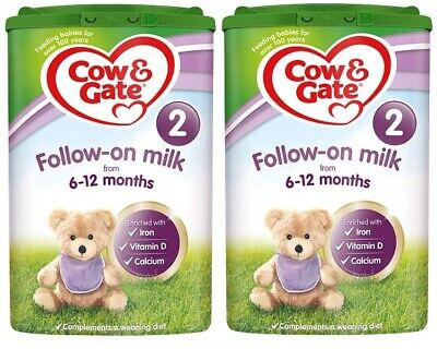 2 x Cow and Gate Follow - On 2 Milk Powder From 6 - 12 Months 800g - FREE P&P