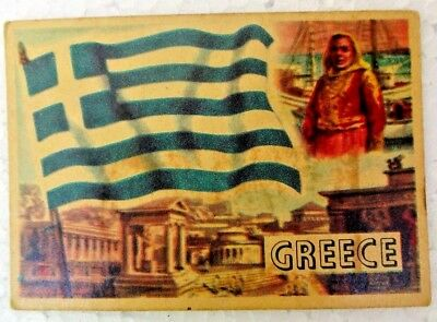 Greece Vintage 1956 Topps Flags Of The World Printed In England Rare Collectible