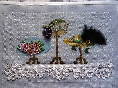 Completed Needlepoint Canvas Victorian Hats