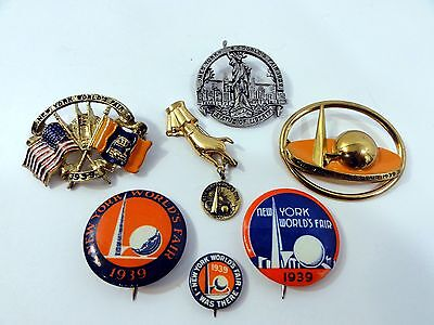 1939 New York World Fair Authentic Pin Collection Rare Set (7 Pc)