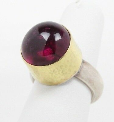Funky Sterling Silver and Gold Plated Hammered Natural Tourmaline Ring