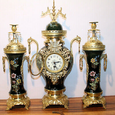 Antique Mantel Clock 19th century French clock garniture set in porcelain Nice