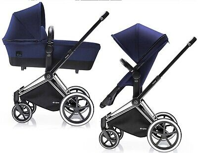 Cybex Priam 2 In 1 Seat With Black All Terrain Chassis Royal Blue
