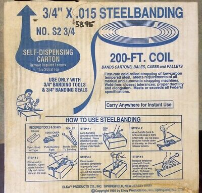 "Elkay Products - 3/4"" x .015"" x 200' Coil of Tensioning Steel Banding - S2 3/4"