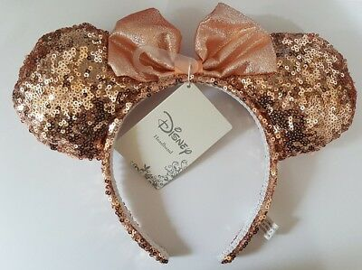 Official Disney Mickey Minnie Mouse Headband Ears Bow Rose Gold Pink Sequin NEW