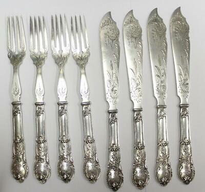 Vintage German Fish set Wilkens .800 silver 8 piece solid rare flatware 490g