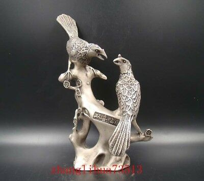 Collectible Handmade Carving Statue Magpie Copper silver Deco Art