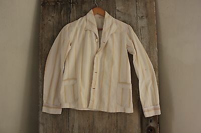 Soft Shirt Vintage French flannel brushed cotton Pajamas PJ's c1930 striped