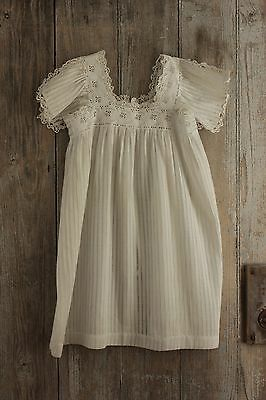 Christening Gown Antique French baby white dress Ayrshire work 19th century