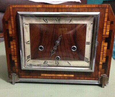 Enfield Art Deco Westminster chimes Mantel Clock With Inlaid Style Veneer