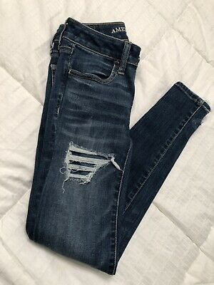 a64ceb06705 American Eagle Outfitters Highwaisted Ripped Dark Wash Jeggings Jeans Size 0
