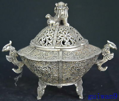 Collectable Miao Silver Carve Lion Phoenix Room Decoration Old Incense Burner