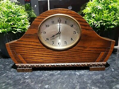 Antique 1920s ,Bravingtons Ltd 8 Day Wooden mantle clock.Working Fine