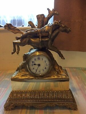 Beautiful genuine French antique heavy brass mantle clock Timepiece For Repair