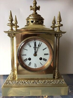 Antique Ornate C. 1900 French 8-Day Gilt Brass Striking Mantle Clock