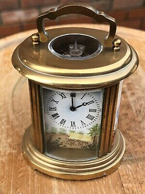 Oval Carriage Clock Brass Bevelled Glass Panels Working Perfect