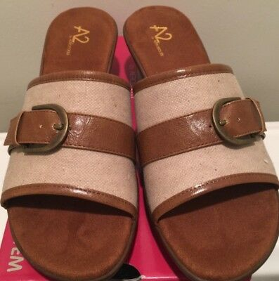 11633cc456 Aerosoles A2 Eyes On You Wedge Sandals Slides NEW IN BOX 9M Brown Combo