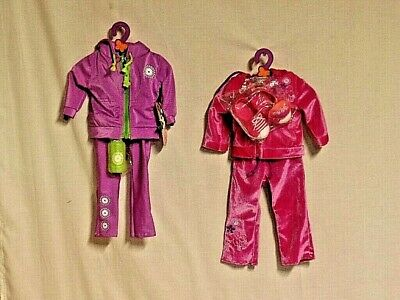 """MY LIFE as-Purple Workout Wear & Hooded Hot Pink Sweat Suit fits 18"""" Dolls (D148"""