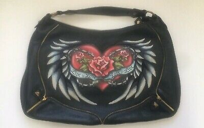 c33847d2926d Isabella Fiore Live To Love Tattoo Audra 2007 Limited Edition Black Hobo Bag
