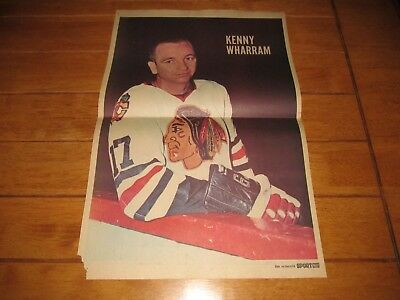1968 Vintage Hockey Poster of KEN WHARRAM Chicago Blackhawks 15.5X22.5in Photo