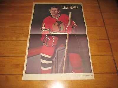 1968 Vintage Hockey Poster of STAN MIKITA Chicago Blackhawks 15.5X22.5in Photo