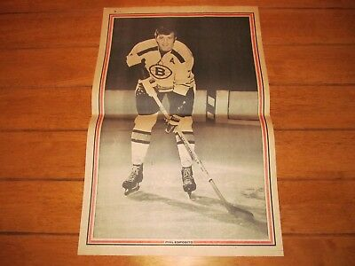 1971 Vintage Hockey Poster of PHIL ESPOSITO Boston Bruins 15.5X22.5in. B&W Photo