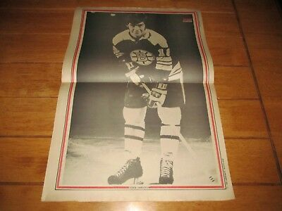 1969 Vintage Hockey Poster of DEREK SANDERSON Boston Bruins 15.5X22.5 B&W Photo