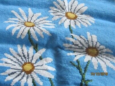 Finished Needlepoint DAISY Pattern Completed 17 x 17 extra thread THINK SPRING