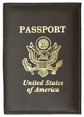 NEW! Travel Scene United States Seal Leather Passport Cover, Brown