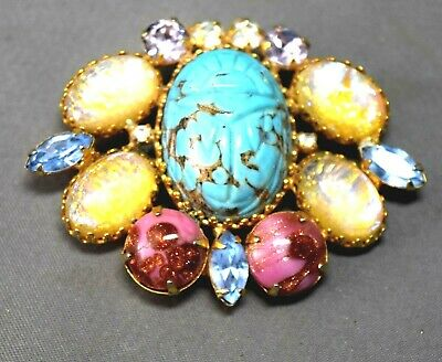 Mystical Egyptian Revival Turquoise Colored Large Scarab and Art Glass Brooch!