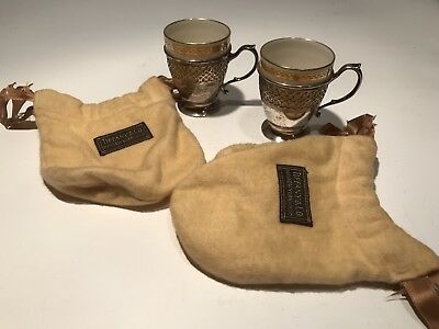 (2) Tiffany & Co. Sterling Silver .925 Lenox Demitasse Coffee Tea Cups & Pouches