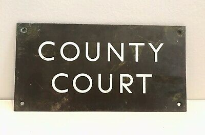 COUNTY COURT Vintage Brass & Enamel Street Sign
